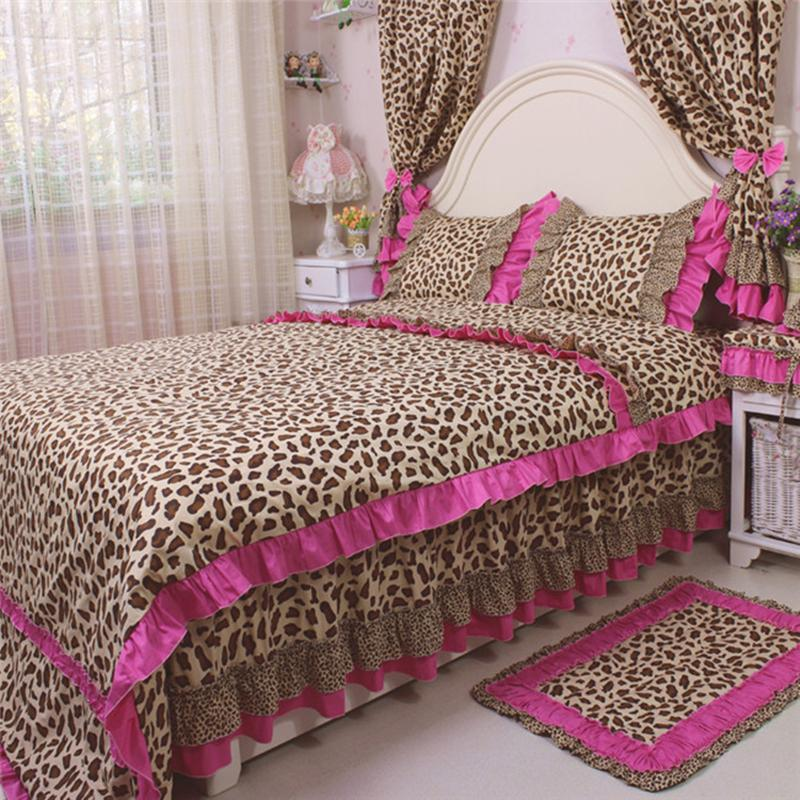 Bedding Set Sexy Leopard Print Bedding Ruffles Duvet Cover Fashion