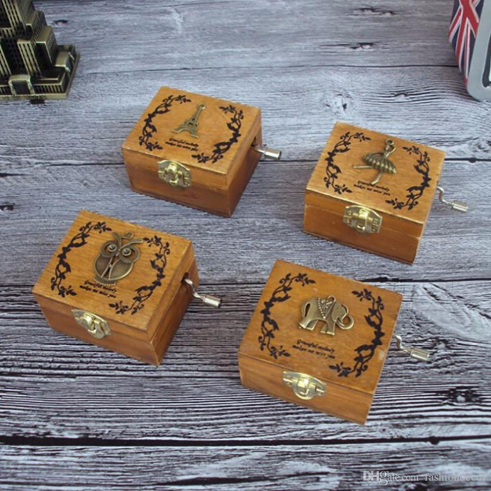 Vintage Wood Music Box DIY Craft Vintage Musical Gold Hand Hurdy ...