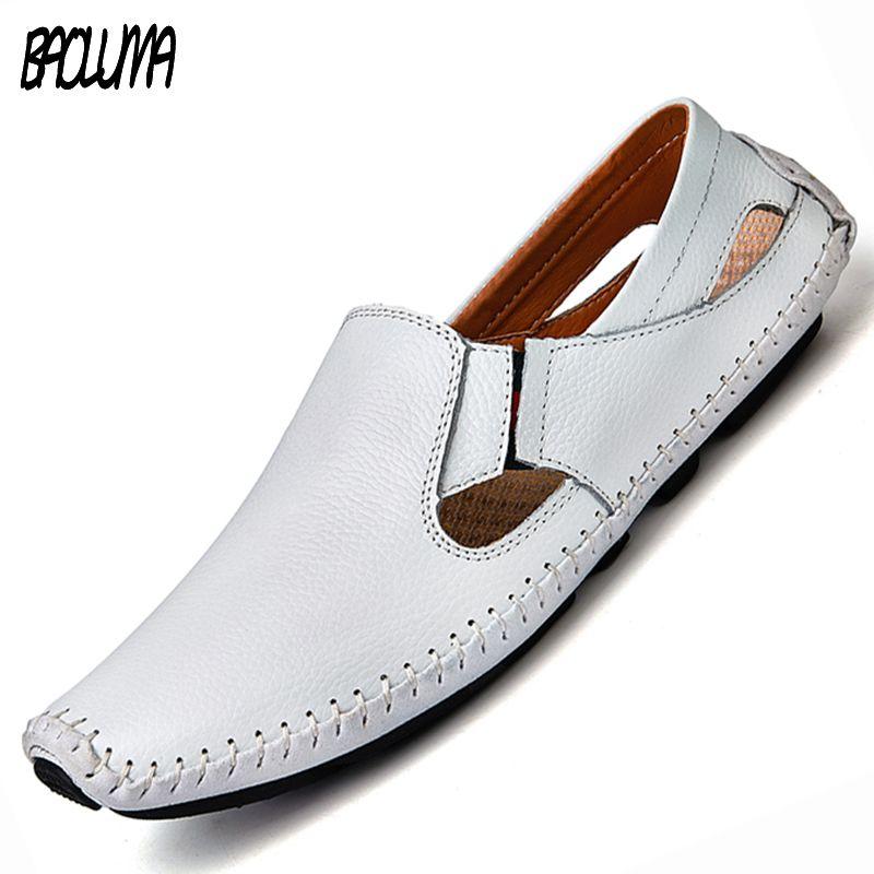c175d260574 Men Leather Sandals Designer Driving Shoes Large Size Mens Slippers Casual  Slip On Summer Male Leather Sandals Size 38 47 Ladies Shoes Red Shoes From  ...