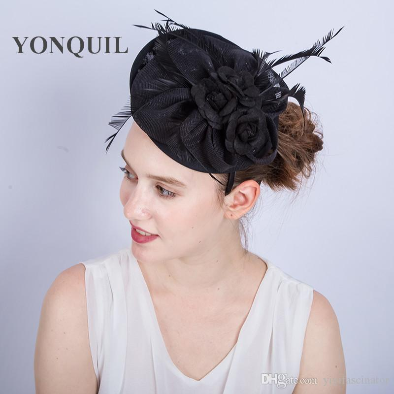 New Arrival Black Imitation Sinamay Fascinators Elegant Ladies Feather  Floral Hat Headbands Red Wedding Party Derby Hair Accessories SYF172 Cheap  Vintage ... 869fc95b225