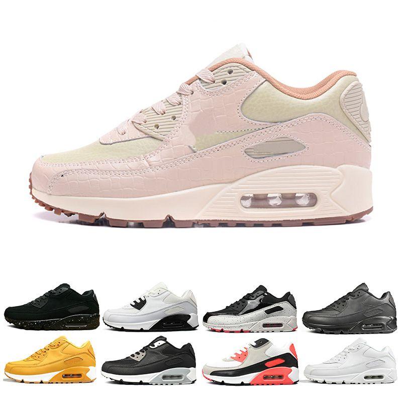 sports shoes 27947 2cff6 Acheter Nike Air Max 90 Image Réelle Voir Description Laser 90 Années 90  Chaussures De Course Pour Hommes Femmes Triple Noir Blanc Rouge Cny Oreo  Respirant ...