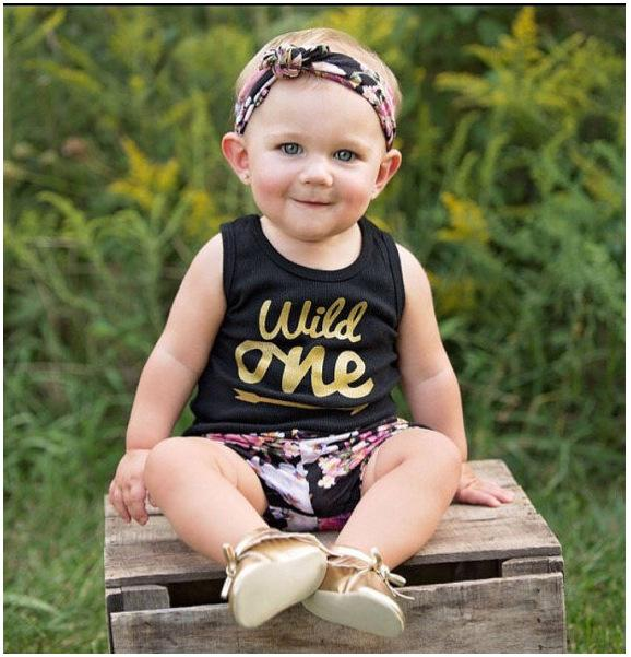 Girls Black Tank Tops+Flower Pants Suits Summer 2019 Kids Boutique Clothing Euro America 1-4T Little Girls Vest Shorts 2 PC Set