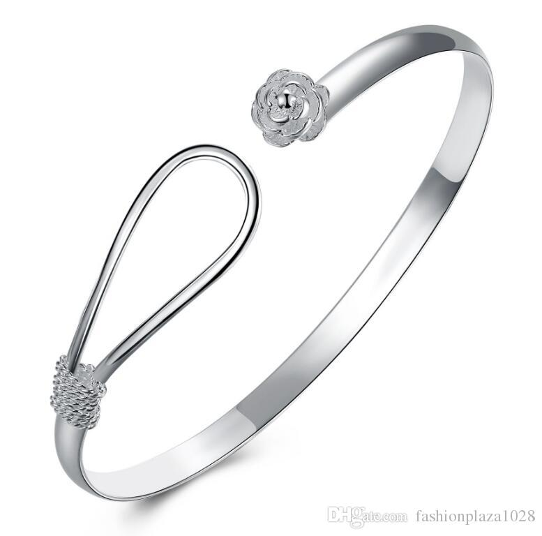 925 Silver New Product Charm Handmade Classic Rose Flower Open Adjustable Bangles Antique 925 Silver Bracelets Bangles
