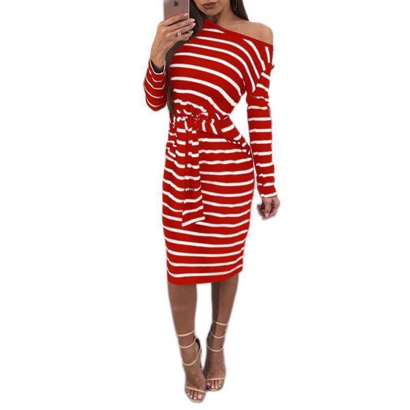 2fe7a4a6791403 Causal Stripped Dresses Woemn Off Shoulder Long Sleeve Bow Ties Slim ...