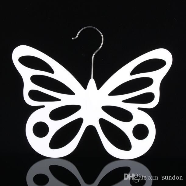 New Style Butterfly Scarf Hanger White Plastic Scarf Hanger Organizer Necktie Belt Closet Storage Holder Hook