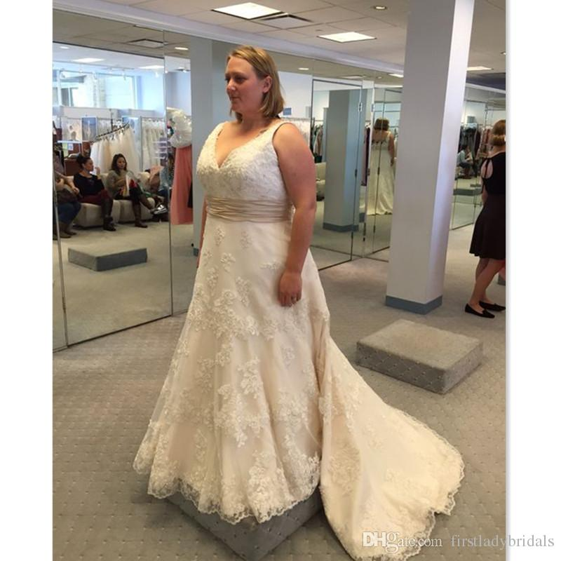 Discount 2018 Maxi Plus Size Wedding Dresses Sexy V Neck A Line With
