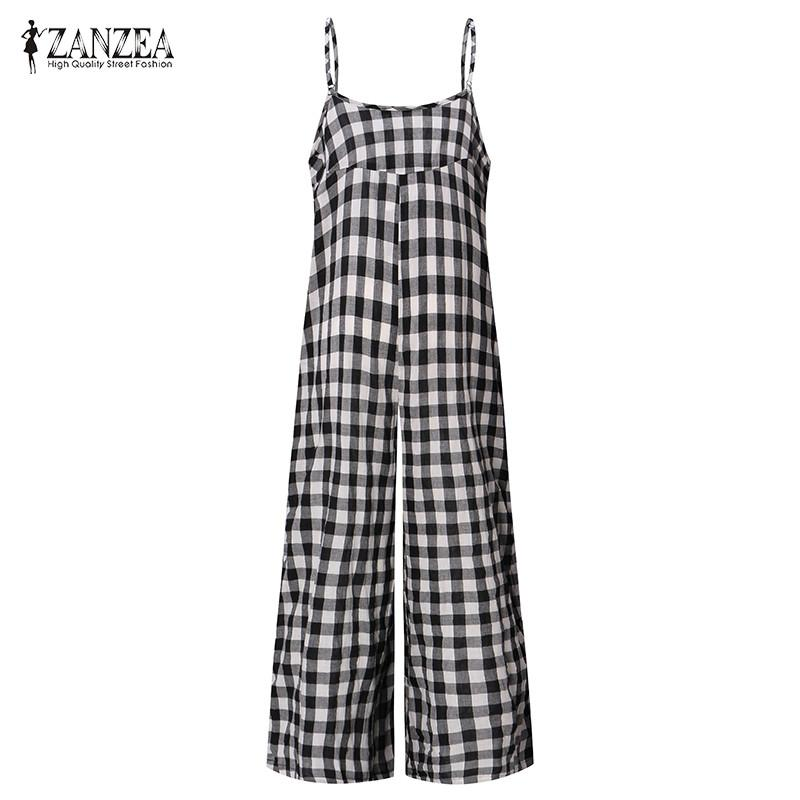 e760236350 ZANZEA Long Rompers Womens Jumpsuit Female Vintage Cotton Bib Overalls  Dungarees Wide Leg Plaid Pants Strappy Checkered Trousers UK 2019 From  Lucycloth