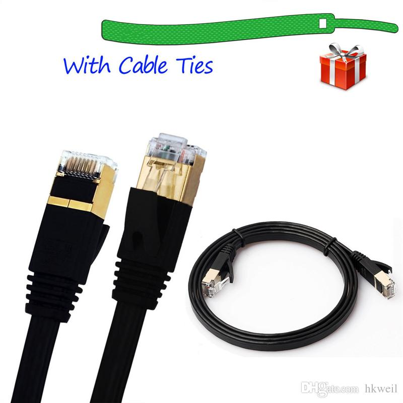 CAT-7 10 Gigabit Ethernet Ultra Cabo de Patch Plana para Rede de LAN do Roteador de Modem Construído com Conectores RJ45 Blindados 1 / 1.8 / 3/5 M