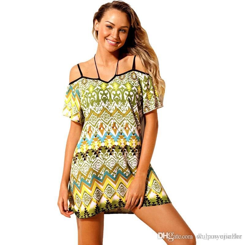 a109e34398b7 2018 Elegant Fashion Bohemian Pattern Cold Shoulder Beach Dress Summer Dress  Casual Beach Printed Dress CL460 Buy Dress Online Dresses Women From ...