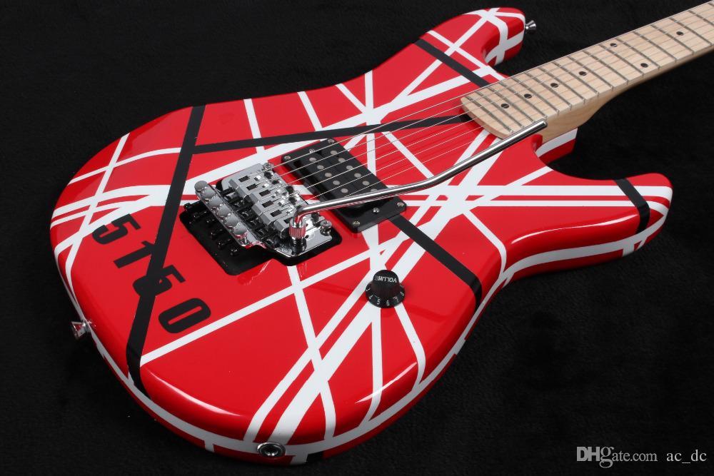 22232d444436d Rare Gang Eddie Van Halen 5150 Black White Stripe Red Electric Guitar Floyd  Rose Tremolo Bridge