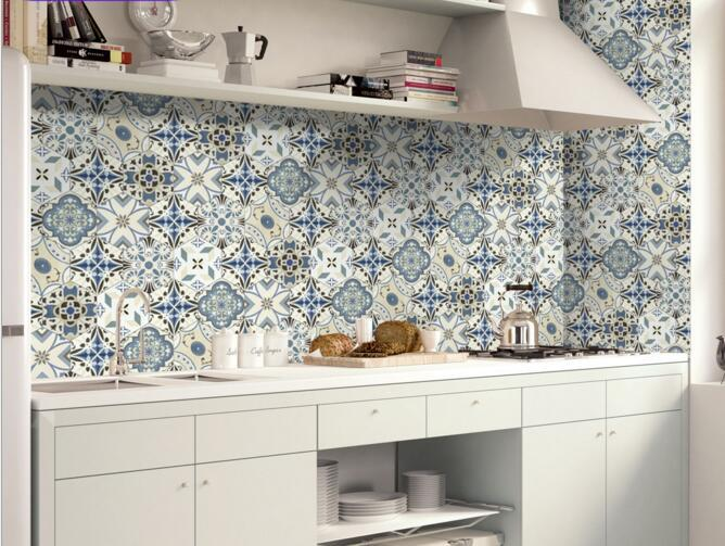 20cmx5m Portuguese Floor Tile Stickers Blue Geometry Backsplash - Blue-bathroom-tile-stickers