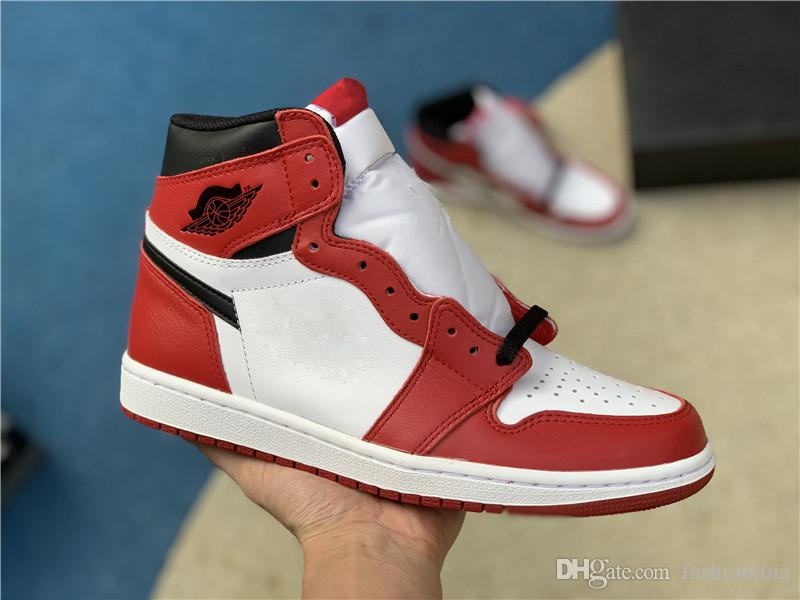 941dbe4d08a Authentic 1 High OG Chicago 1S Red Black White Rust Pink Fragment Design Basketball  Shoes For Men Sports Sneakers With Box 555088-101 Man Basketball Shoes ...