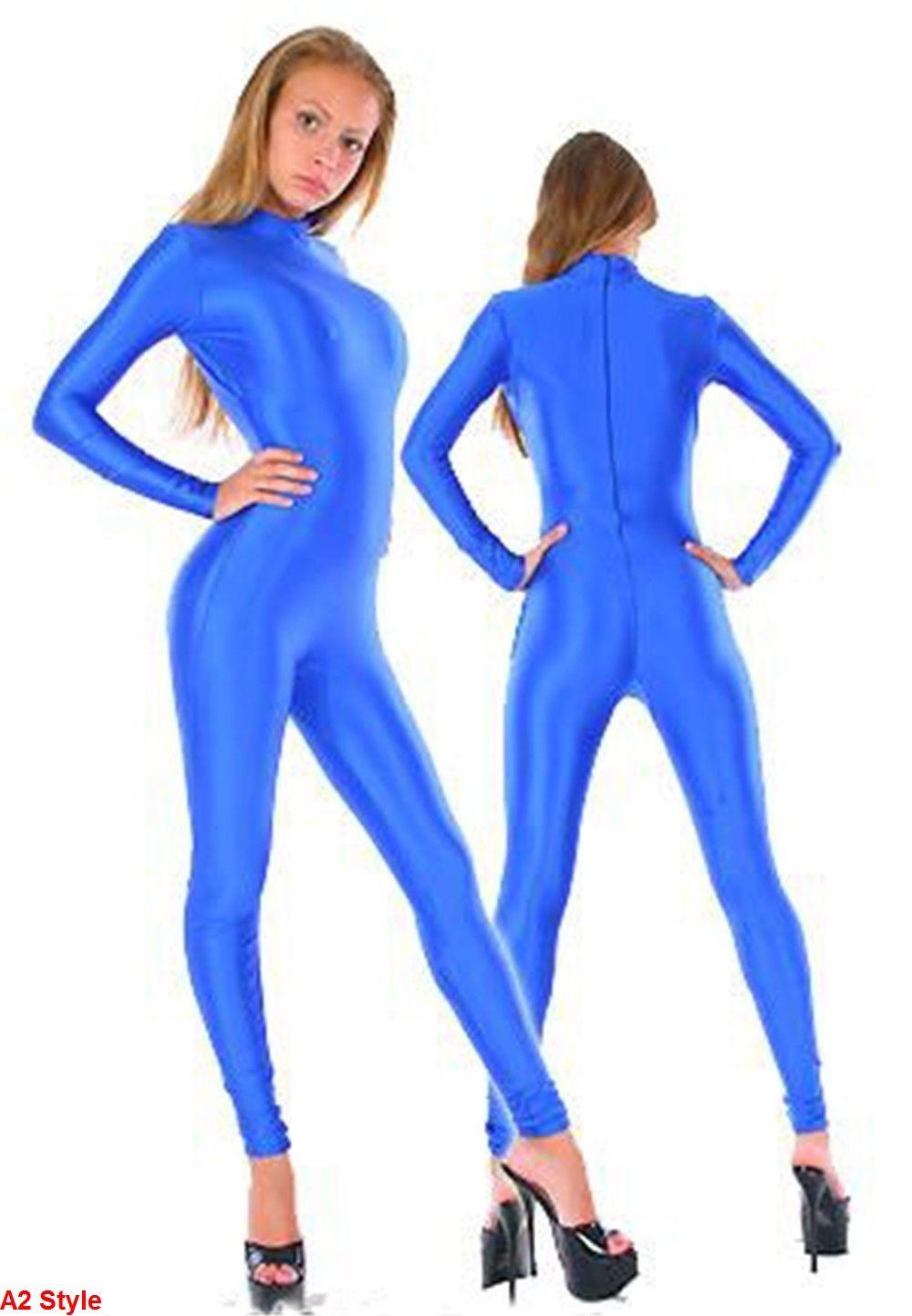 5 Estilo azul real Sexy Lycra Spandex fiesta de Halloween Zentai traje de regalo S-XXL