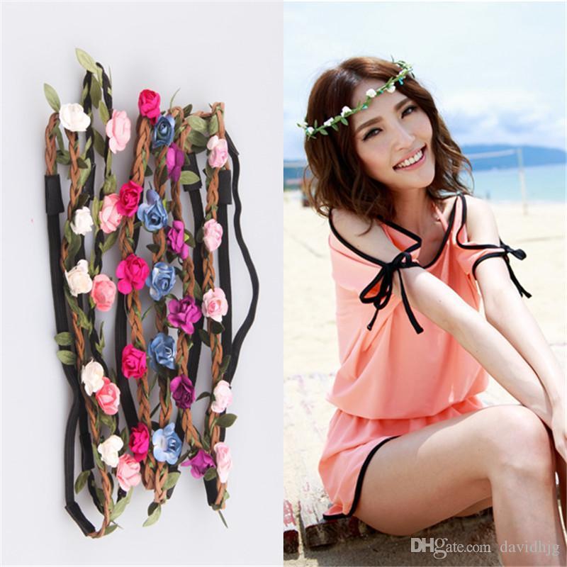 Lady Kızlar Gelin Boho Çiçek Kafa Çiçek Baş Çelenk Kadın Plaj Bandı Çiçek Saç Garlands Bohemia Plaj Çiçek Saç Bantları B213