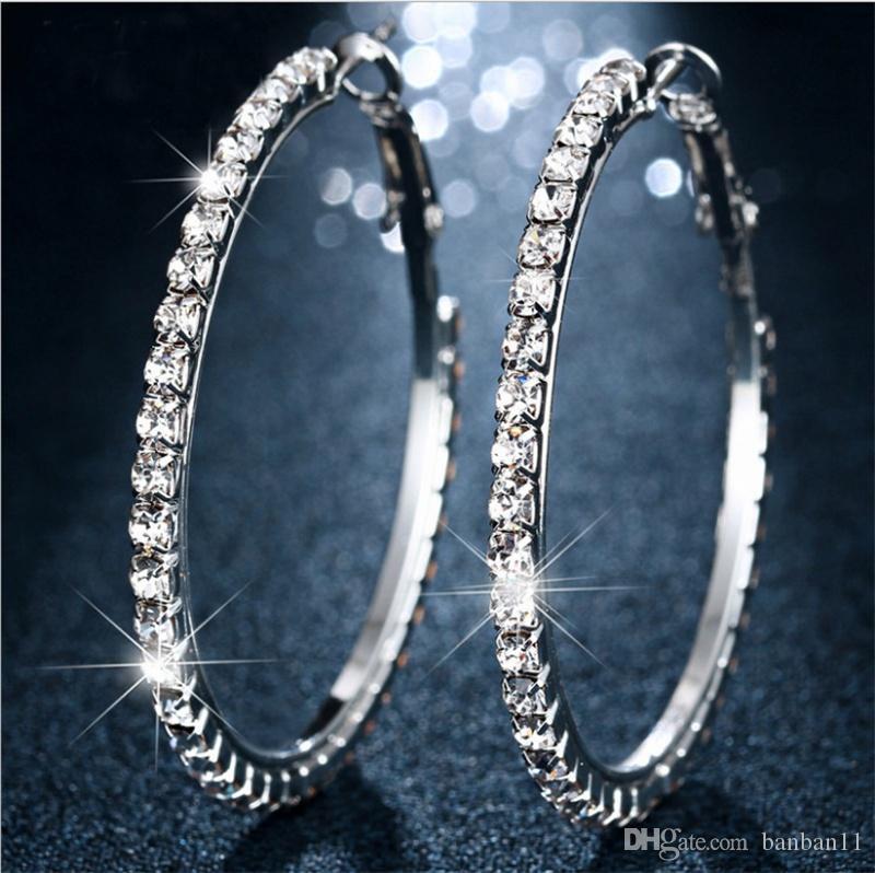 Bamos Trendy White Zircon Hoop Earrings For Women Silver Color Big ... 4802ea301f12