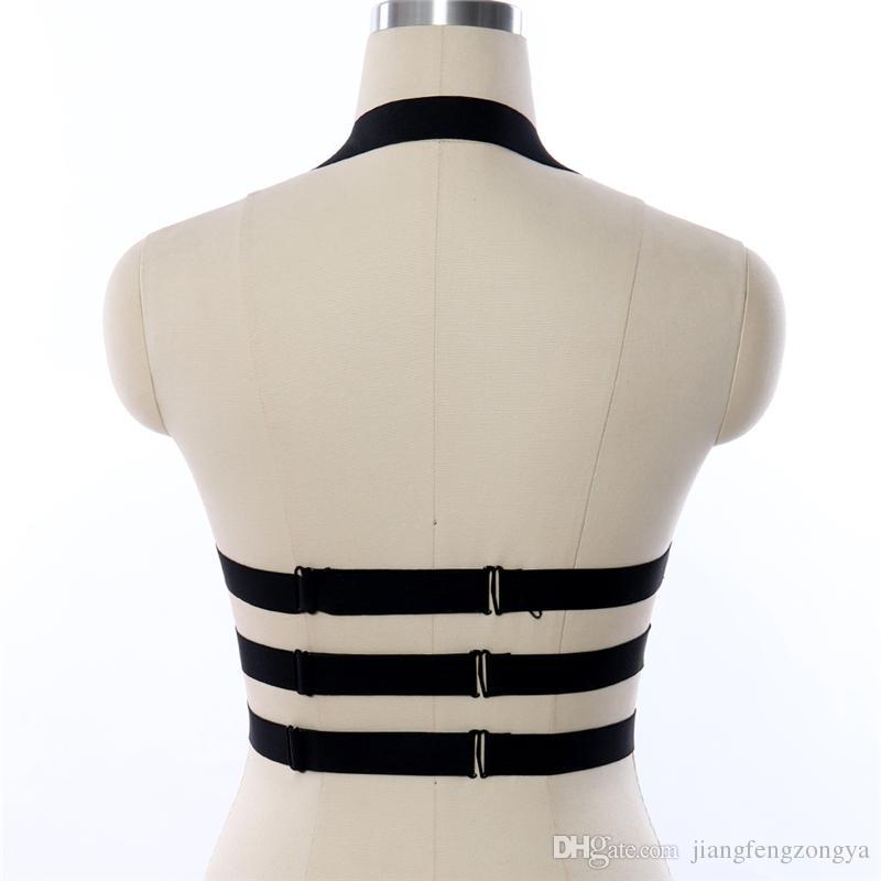 BODYCAGE Harajuku Goth Esaret göğüs demeti sütyen lingerie siyah Elastik kayış ayarlamak tops kafes sütyen fetiş dans egzotik sutyen