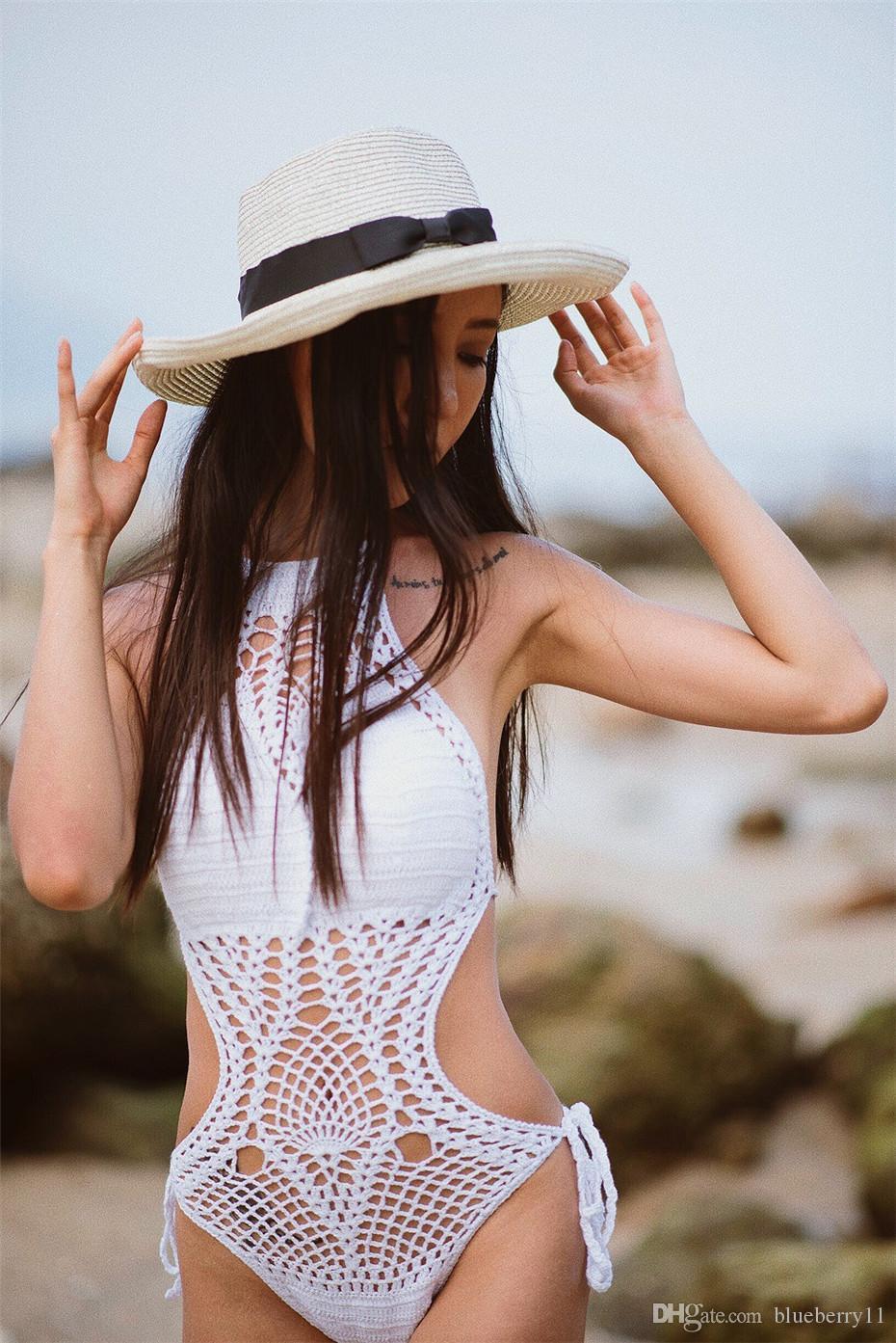 Sexy halter top häkeln strick monokini gefüttert badebekleidung frauen einteiler badeanzug badeanzug vintage bandage e strandwear schwarz weiß