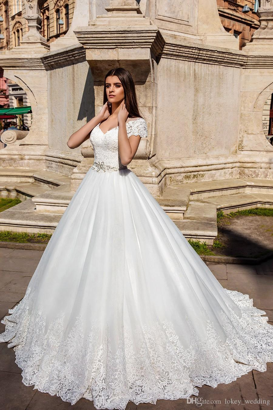 96324721b35d Modest Ball Gown Lace Wedding Dresses 2018 Applique With Beaded Sash Tulle  Illusion Back V-Neck Short Sleeves Bridal Gown With Court Train Short  Sleeves ...