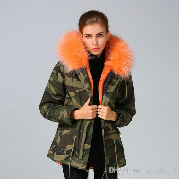 2018 women winter snow coats Meifeng brand fashion orange rabbit fur lined Camouflage shell canvas mini parka with ykk zipper short parkas