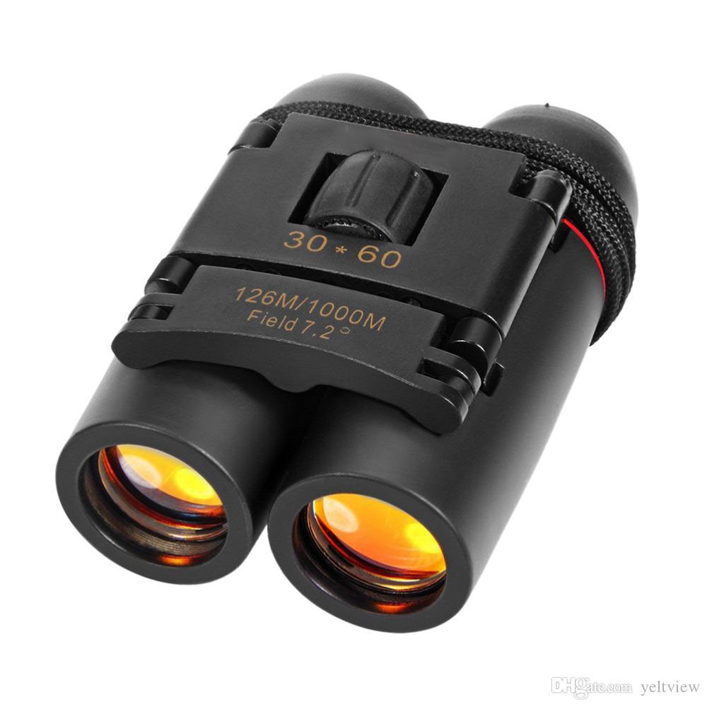 Mini prismáticos plegables con visión nocturna Prismáticos Zoom Óptico Telescopio Len para observar aves viajando cazando con paquete