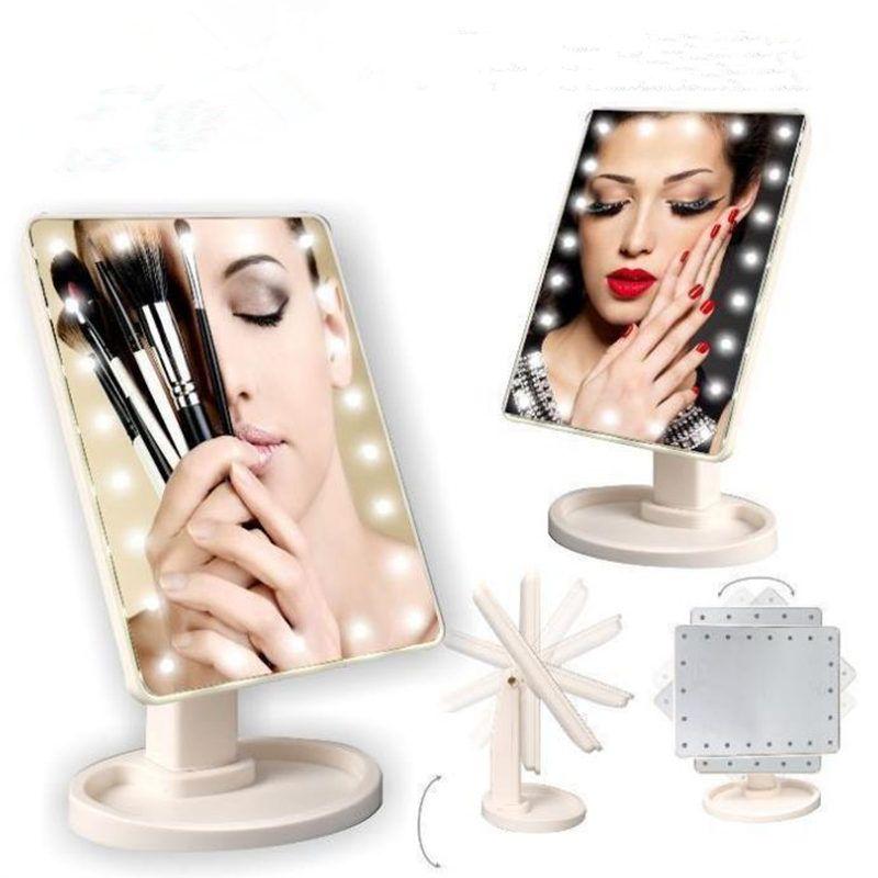 Pantalla táctil de rotación de 360 grados Maquillaje espejo LED Estética portátil plegable bolsillo compacto con 22 luces LED Espejo de maquillaje rápido