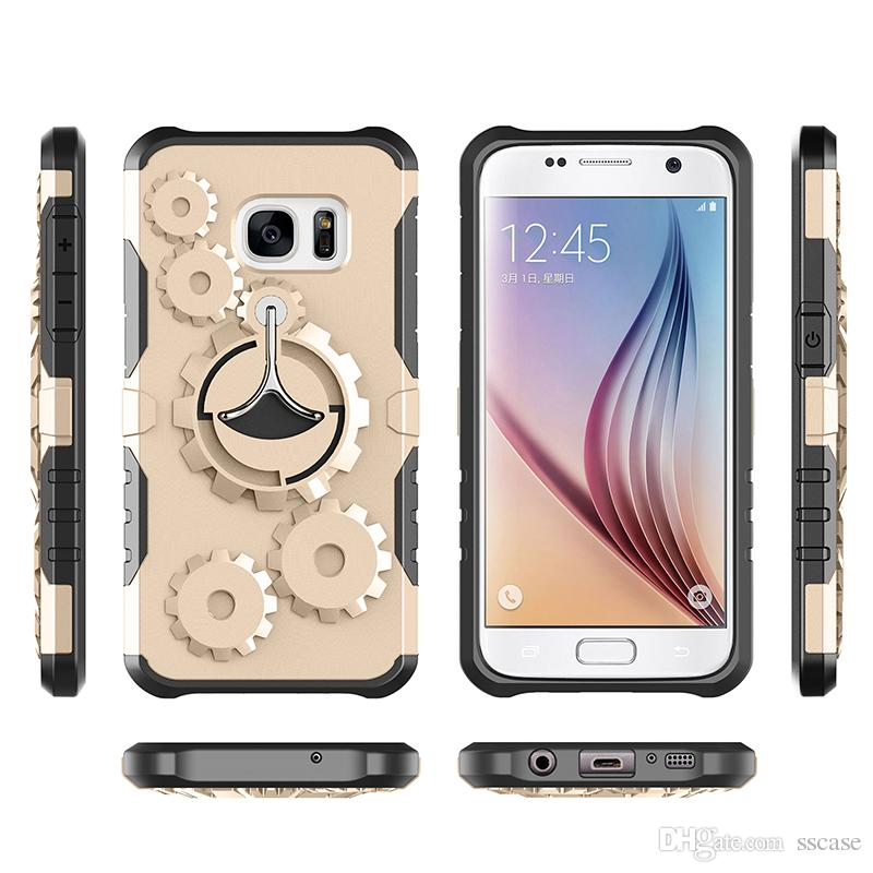 For iPhone X 5 5c 6 6S 7 8 Plus Case Running Gym Shockproof Hard case Kickstand Cellphone Cases Armband Case Super Cool 3D Wheel Gear Design
