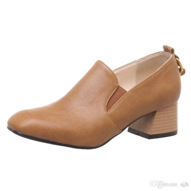 SJJH 2018 Woman Pumps with Square Toe and Chunky Heel Elegant Working Shoes for Fashion Women with Large Size Available A184