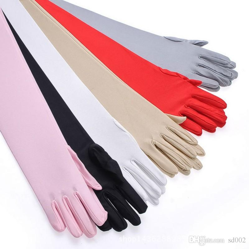 Five Fingers Spandex Long Gloves Colorful Thin Sunscreen Mitten For Bridal Wedding Decorations Satin Arm Hand Sleeve Glove White3 2ys B