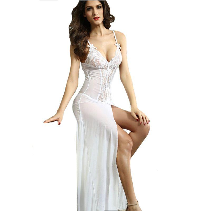 fa1d62cb Compre Ropa Interior De Encaje Blanco Negro Profundo V Sling Largo Vestido  Transparente Lencería Sexy Señora Dormir Camisón Vestido De Mujer Lenceria  S927 A ...