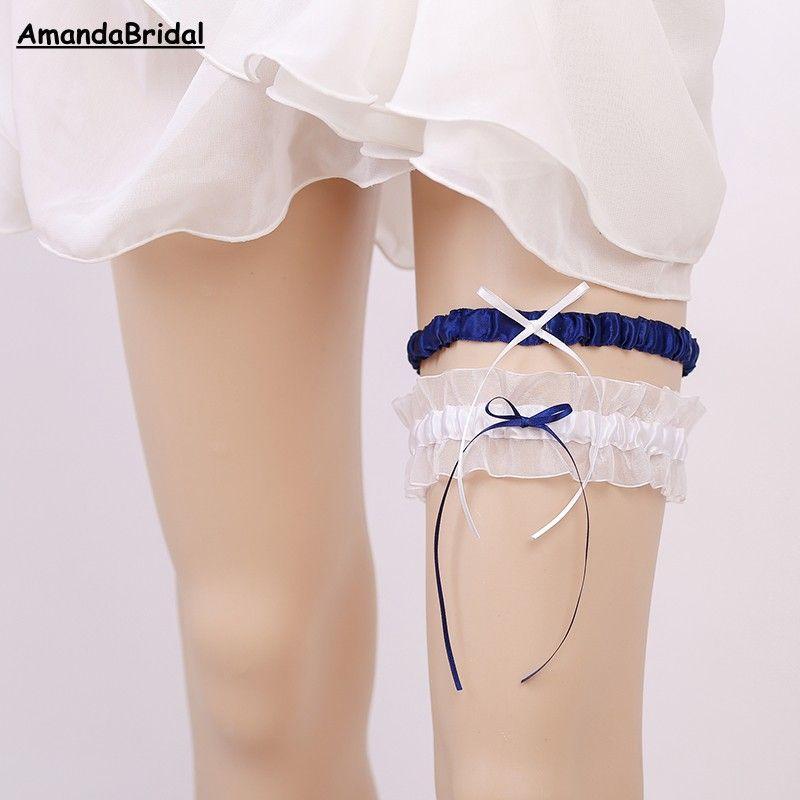 Amandabridal 2019 Bridal Garters / set 4 가지 색깔 파란 꽃 리본 결혼식 가터 훈장 진주 신부 다리 가터 벨트 레이스 신부 부속품