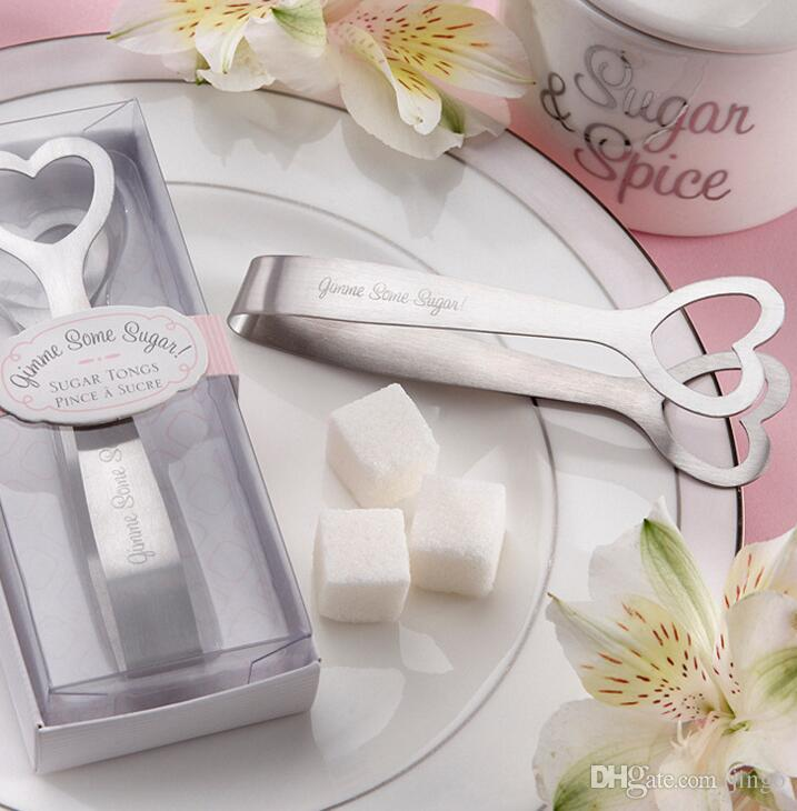Stainless Steel Heart Shaped Sugar Clamp Tongs with Boxes Package Ice Coffee Bar Buffet Kitchen Spoon Party Favor Wedding Gifts