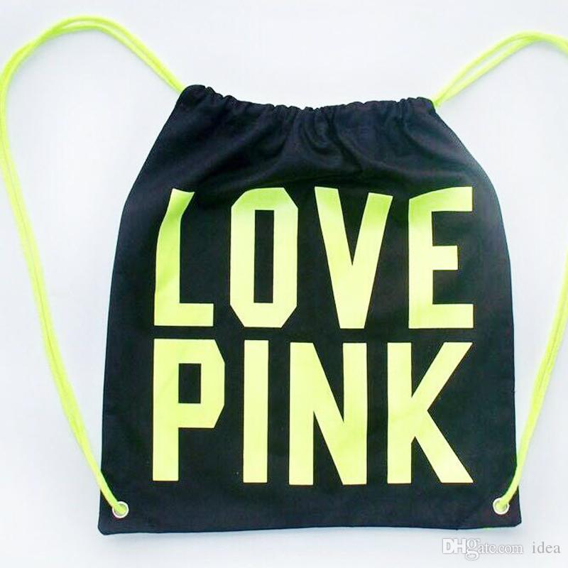 a16045ae5a4b Pink Drawstring Bag Backpacks Women LOVE PINK School Bags Pink Letter  Storage Bags Fashion Canvas Handbags Shopping Bags Hot Sale 2018 UK 2019  From Idea