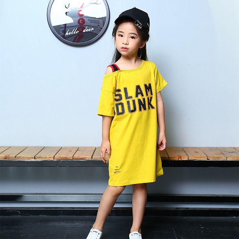 621e44989cbf9 2018 Children's clothing Baby Girl Fashion T-shirt skirt Long Print SLAM  OUNK Pattern Short Sleeve T-Shirt Skirt Cotton Off-Shoulder Top
