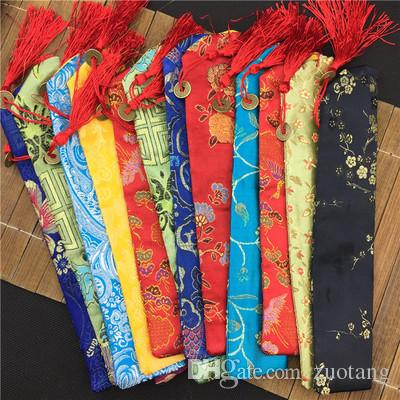 Unique Tassel Hand Fan Pouch 7inches 10inches Silk brocade Floral Folding Fan Cover Bag Chinese style Packaging Cover 20pcs/lot mix color