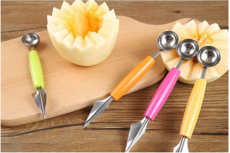 Creative Double Head Stainless Steel Watermelon Digging Ball Scoop Spoon Baller Fruit Cutter Carving Knife DIY Decoration Kitchen Tools
