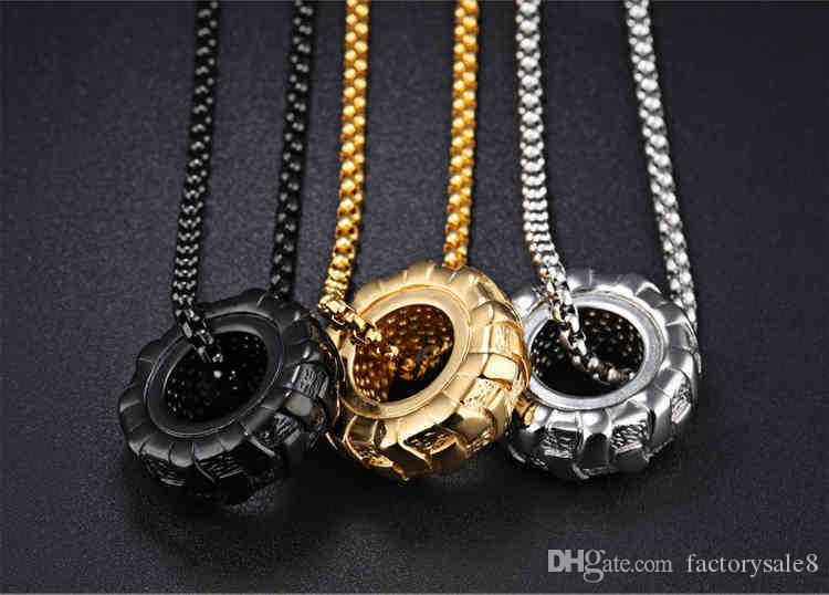 Car Tires Pendant Necklace Men Jewelry Colar Masculino Punk Stainless Steel Box Chain Necklaces Mens Jewellery