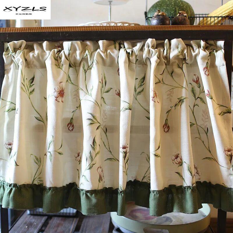 Großhandel Großhandel Amerikanischen Stil Halbe Vorhang Floral Küche ...
