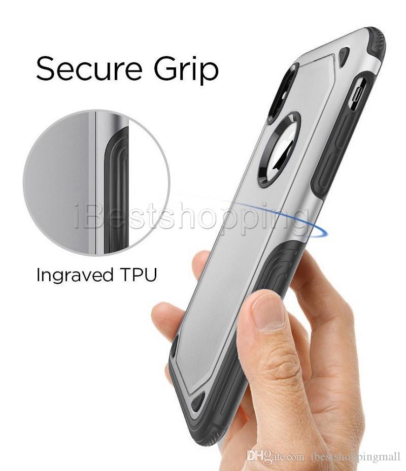 2 em 1 Matte Shell fosco híbrido Armadura Slim Case iPhone tampa traseira para 11 pro Max XR XS MAX S10e S10 mais borda S7 S8 S9 Plus Nota 9 8
