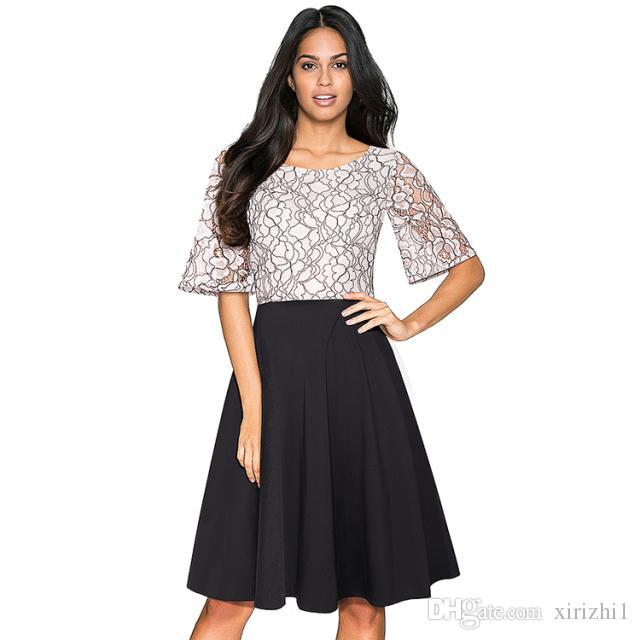 2018 Hot Selling Fashion Women Lace Dress Empired Wholesale Image