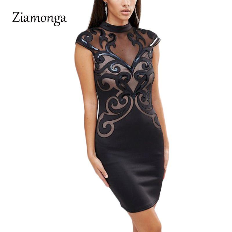 Plus Size S Xxl Mesh Patchwork Bodycon Dress Sexy Clubwear Black