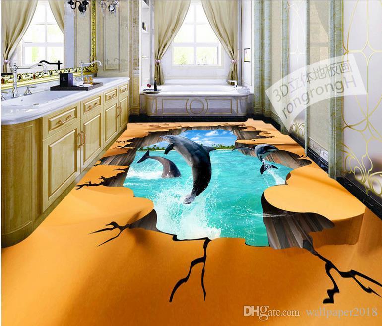 Floor wallpapers for living room HD desert crack dolphin 3D outdoor floor to floor painting wall papers home decor for kids