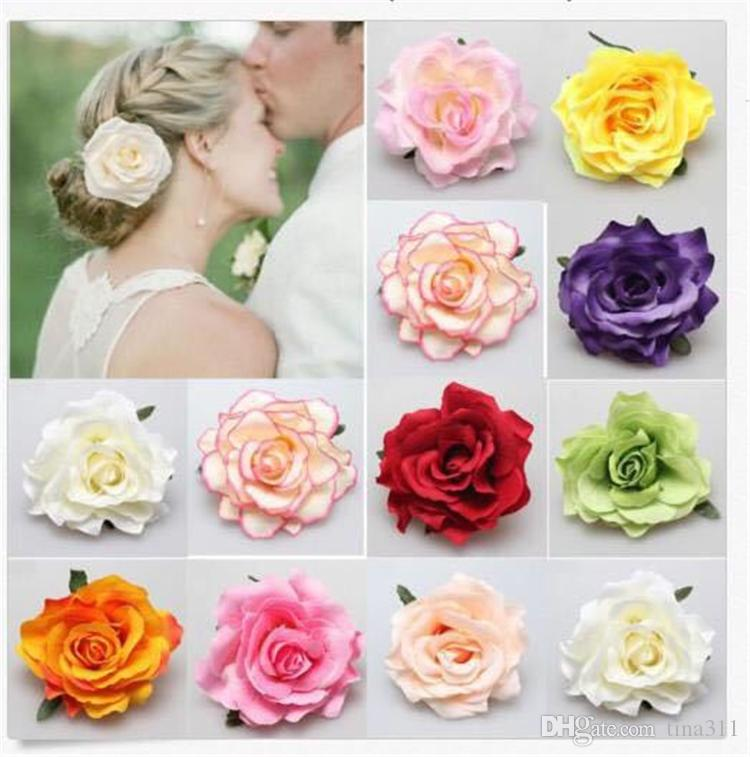 Wholesale-Flocking Cloth Red Rose Flower Hair Clip Hairpin DIY Headdress Hair Accessories For Bridal Wedding T2C233