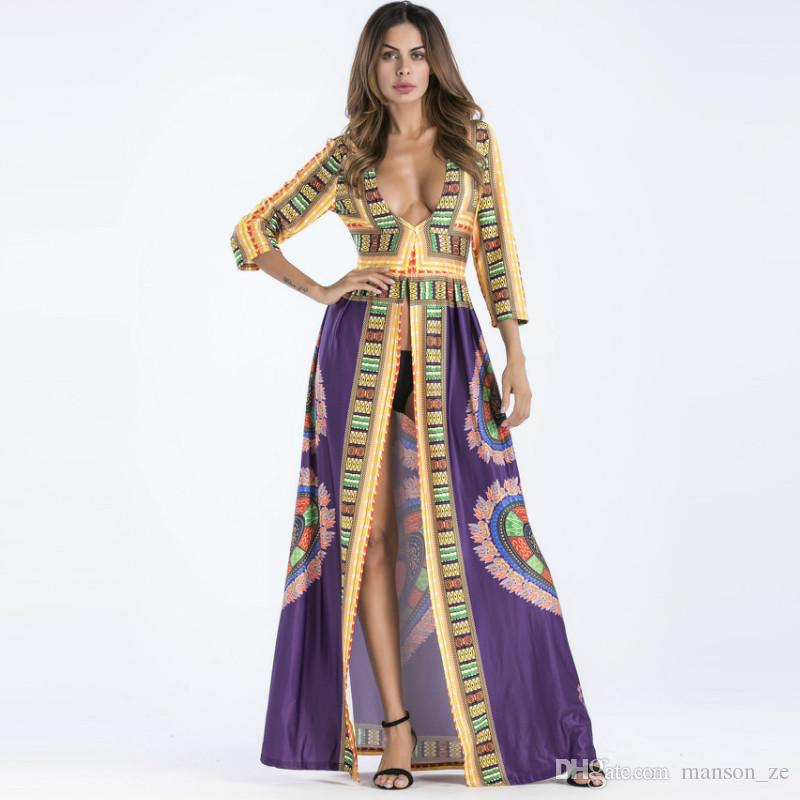 9c05373bea443 Plus Size Women Summer African Ethnic Print Kaftan Maxi Dress Long Sleeve  Loose Vintage Boho Beach Long Dress Retro Floor Length Dresses Women Long  Dress ...