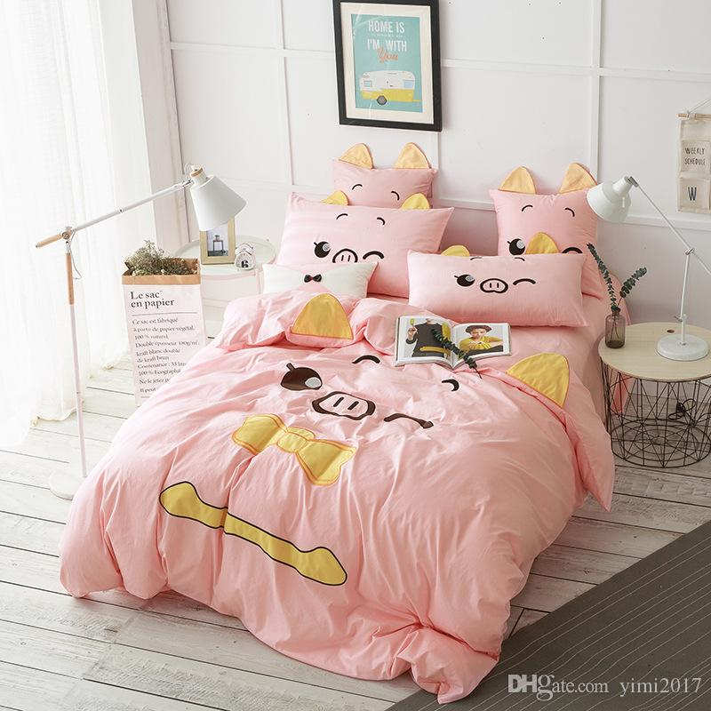 Cute Pig Printed Bedding Sets Comfortable Fashion Washable Cotton Pink Bed  Sheet Quilt Cover Pillow Case Cute Pig Bedding Sets Comfortable Bed Sheet  ...