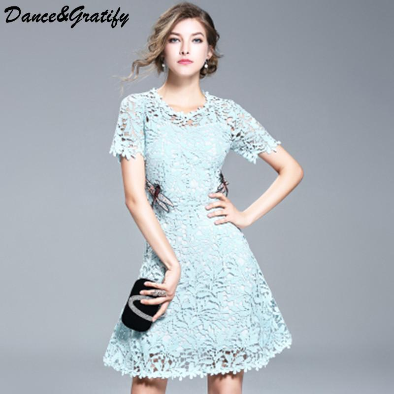 5efb77ce1b4 Women Luxury Embroidery Dragonfly Lace Crochet Runway Dress 2018 New Summer  Elegant Mini Short Party Dress Casual Office Work Pink Cocktail Dresses  Dress ...