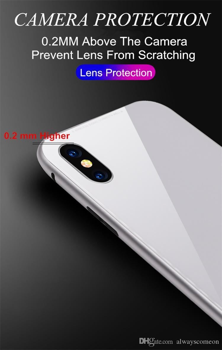 Magnet Absorption Aluminum Alloy Metal Frame Magneto Phone Cases For IPhone X 7 8 Plus Anti-Scratch Tempered Glass Back Cover