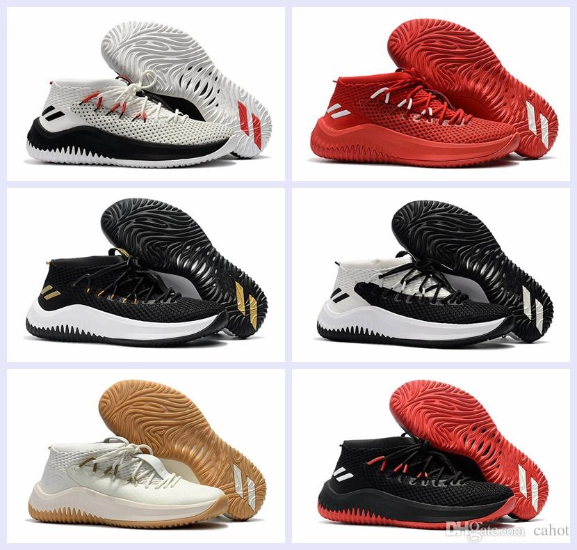 4832248db6ae62 2017 New Damian Lillard 4 Men Basketball Shoes Dame 4 Rip City White Black  Red Un Dyed Signature Sports Mens Brand Sneakers US 7 12 Men Basketball  Shoes ...