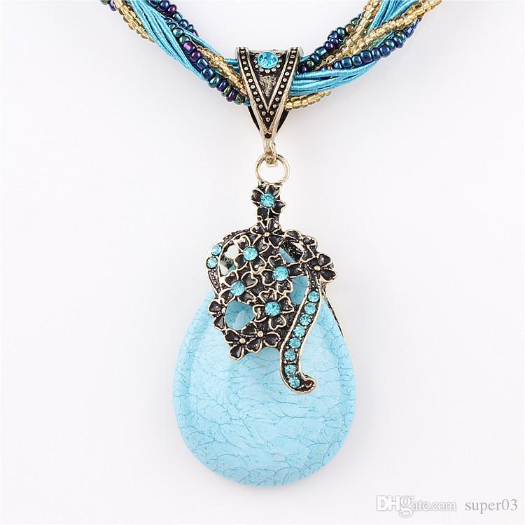 2378d261ece51f 2019 New Statement Choker Vintage Charms Bead Collar Turquoise Pendant  Rhinestone Crystal Necklace Women Fine Jewelry Colares From Super03, $0.94    DHgate.