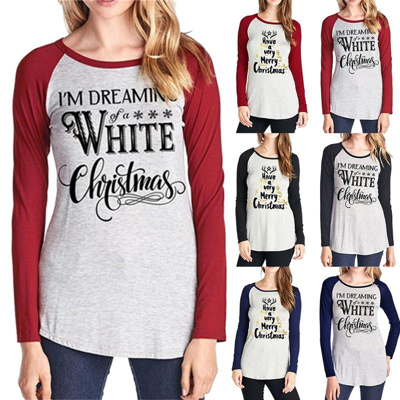 407b5807e Compre Carta De Navidad Impreso Llanura Camiseta 6 Estilos Mujeres Elástico Camisetas  Básicas Tops Casuales De Manga Larga Camiseta Ropa De Hogar OOA5721 A ...