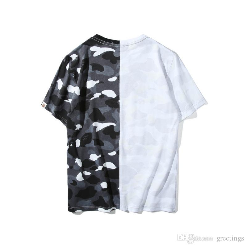Newest Lover Black White Shark Camo Stitching T-shirt Men Women Crew Neck Cotton Cotton Printed Short Sleeved T-shirts